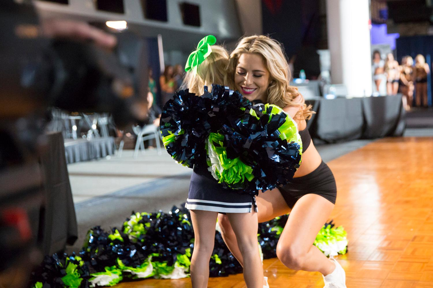 Welcome Hailey, a 2018 Sea Gal! Dancers performed a choreographed routine and spoke briefly about themselves. The entire evening was live broadcasted on the Seahawks website. (Sy Bean / Seattle Refined)