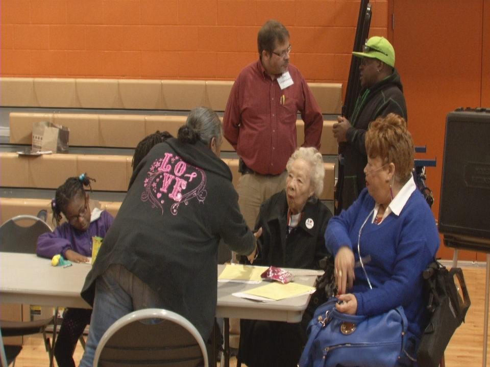 Some people at the voting precinct stopped to say hello to Mary as she cast her ballot (WSYX/WTTE)