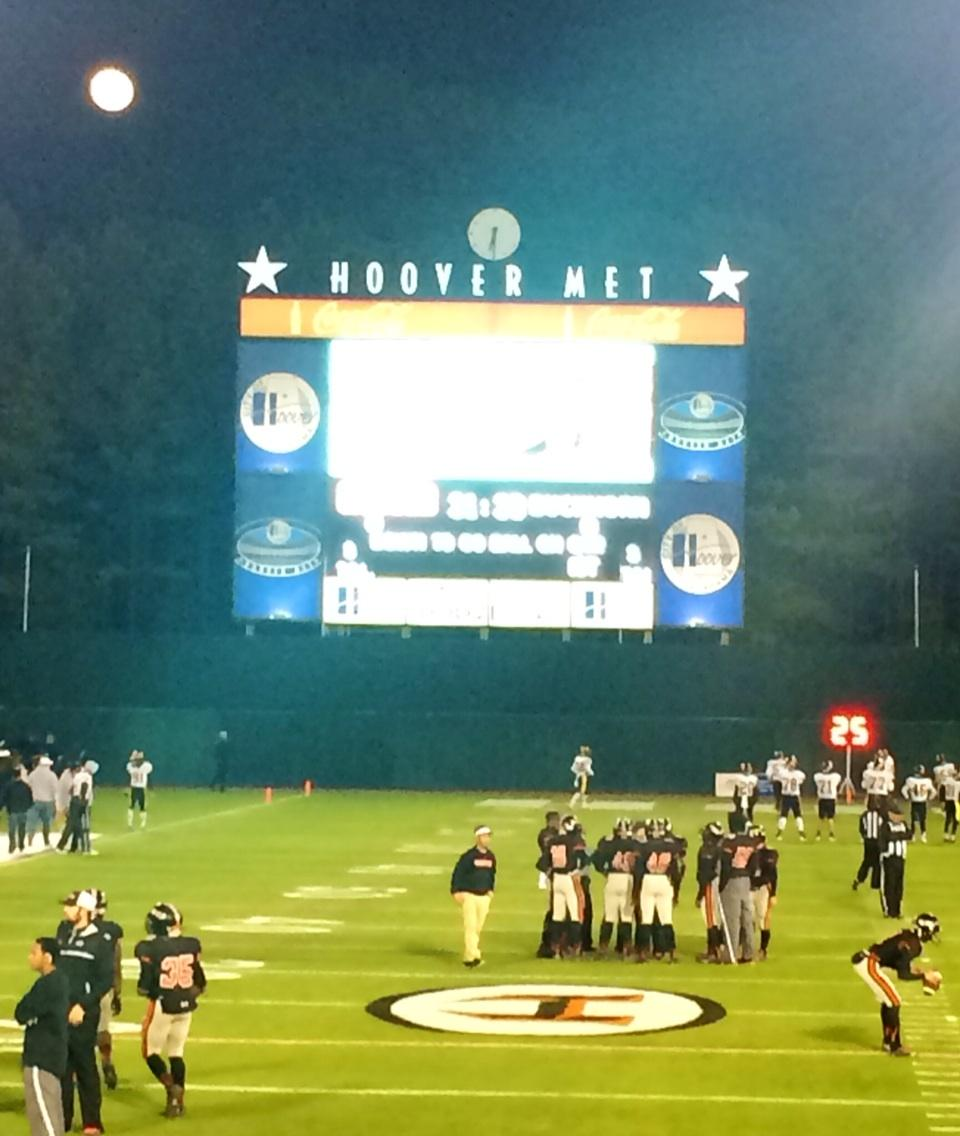 Pregame of AHSAA Class 7A first-round playoff game between Hoover and Buckhorn at the Hoover Met, Friday, Nov. 7, 2014.