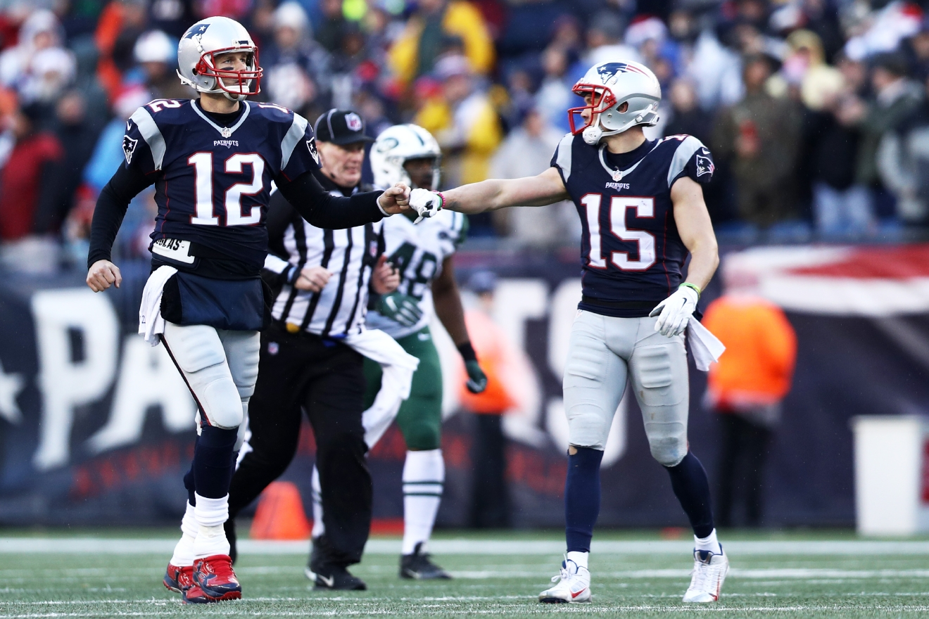 Hogan and Tom Brady connected on several big plays this season, including completions of 79, 63 and 53 yards before Hogan's postseason breakout. (Photo by Maddie Meyer/Getty Images)