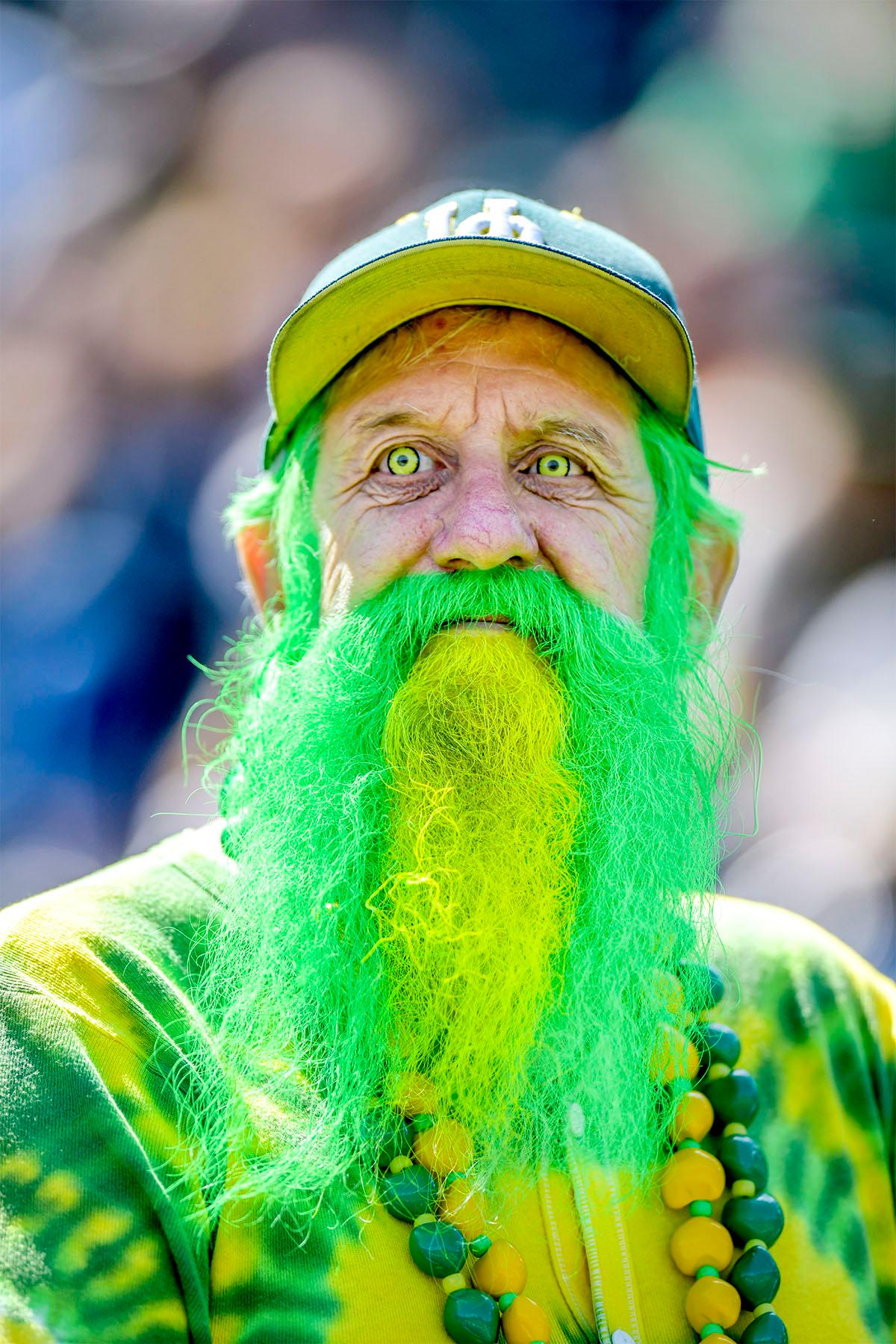 "The ""Grateful Duck"" waits for the Spring Game to start. He took on the name ""Grateful Duck"" due to his love for the Grateful Dead and the Ducks. The Thunder defeated the Lightning 59-24 in the Spring Game on Saturday at Autzen Stadium. Photo by August Frank"