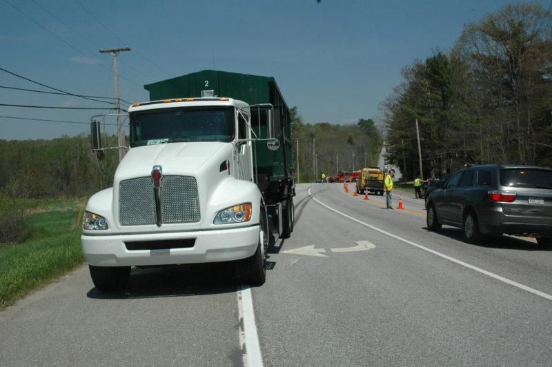 A motorcycle crossed the centerline of Route 1 and struck this Kenworth truck the afternoon of Thursday, May 18. (The Lincoln County News/Alexander Violo)