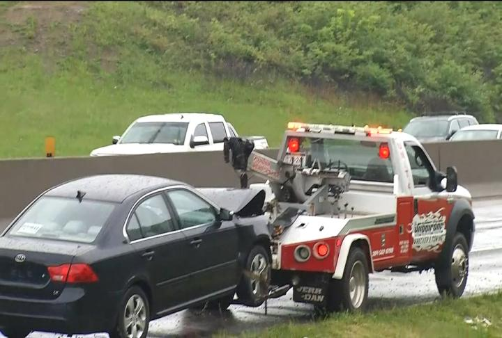 Putnam 911 says five people were transported to the hospital after a 12-vehicle wreck on Interstate 64 just past the St. Albans exit. Photo shows scene of crash. (WCHS/WVAH)