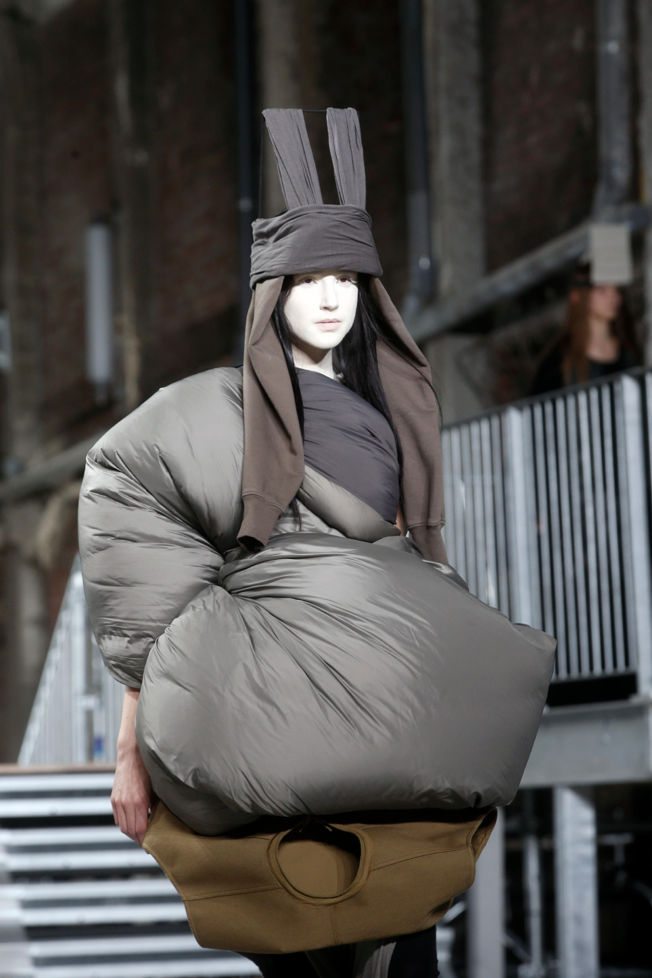 A model wears a creation as part of Rick Owens' Fall-Winter 2017-2018 ready to wear fashion collection presented in Paris, Thursday, March 2, 2017. (AP Photo/Thibault Camus)