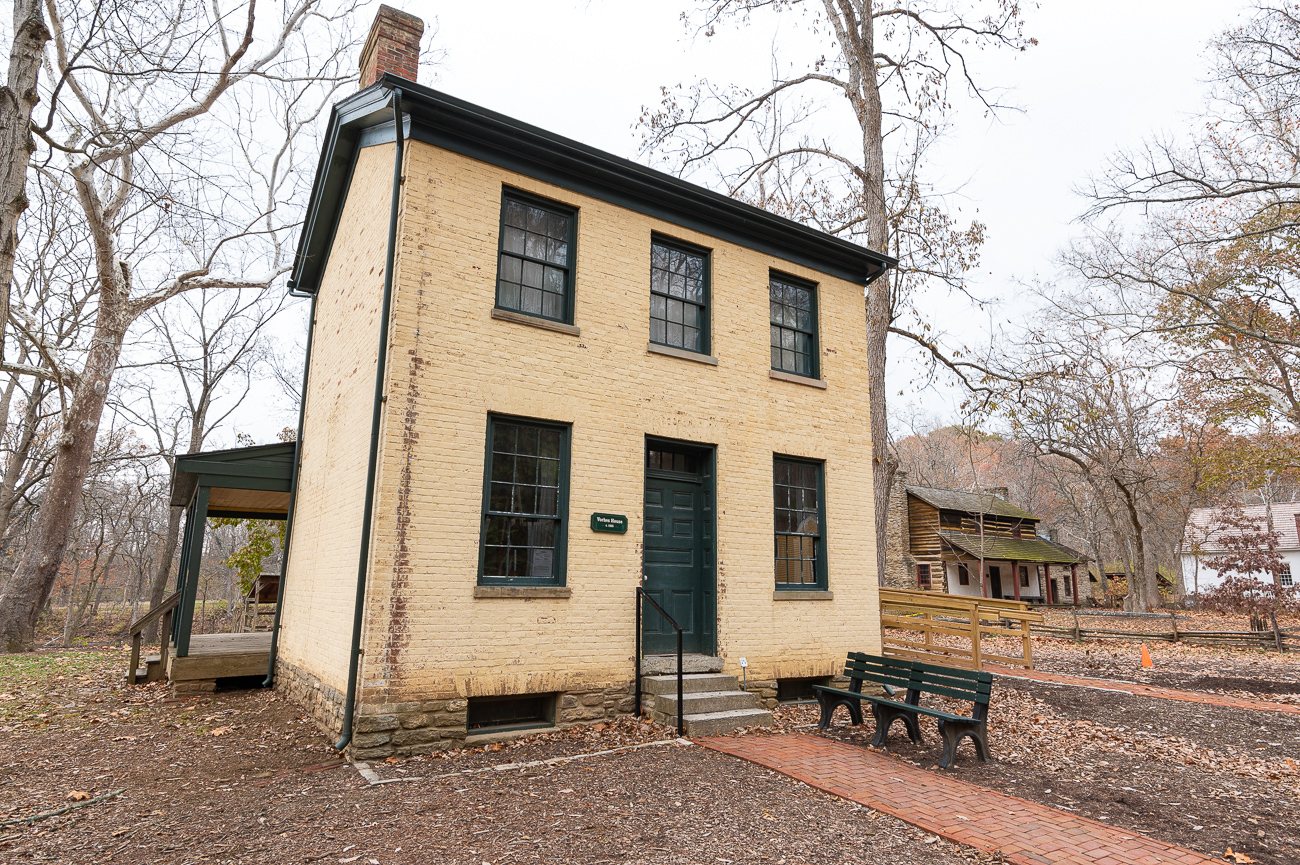No one knows the exact date the Vorhes House was built, but the Federal style farmhouse is believed to have been constructed somewhere between 1820 and 1830. It's two stories, though only the first is open to the public. It is staged with period-specific furniture to illustrate what life was like when it was in use. It originally stood on Cornell Road in Blue Ash.{ }/ Image: Phil Armstrong, Cincinnati Refined // Published: 12.5.19