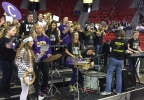 The Clayton High School pep band warms up the crowd at the WIAA girls state high school basketball championship March 10, 2017, at the Resch Center.