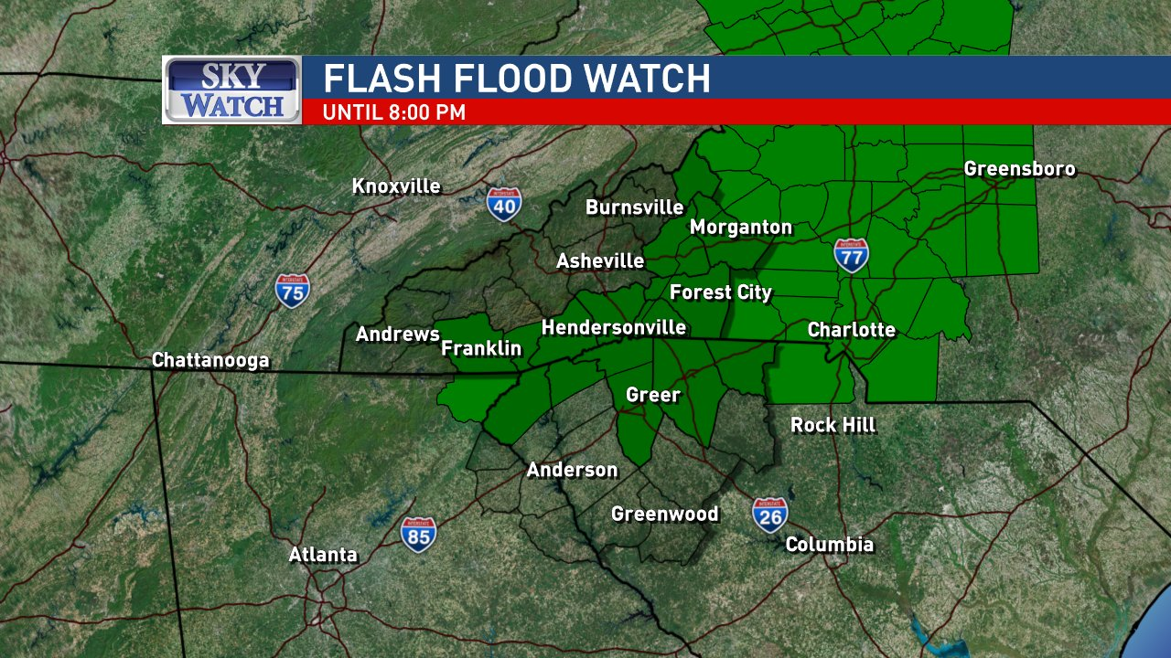 There is a Flash Flood Watch in the areas shown until 8 p.m. Sunday. Image: WLOS