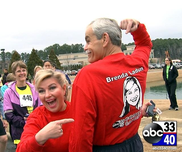 ABC 33/40 anchors Brenda Ladun and Dave Baird at the 10th Annual Brenda Ladun Conquer Cancer Run, Saturday, March 1, 2014.