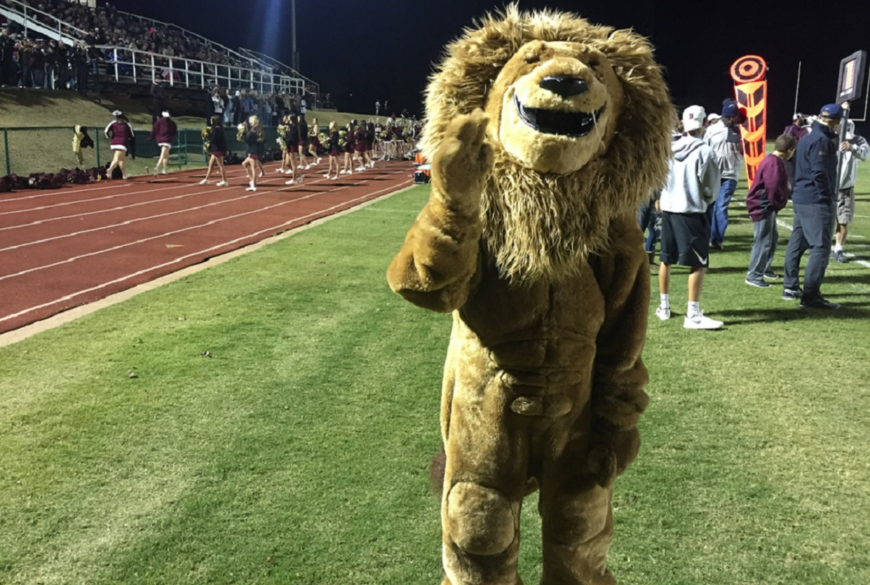 The Blanchard Lions mascot at the Heritage Hall playoff game on Friday, Nov. 11, 2016 (Ben Latham / KOKH)