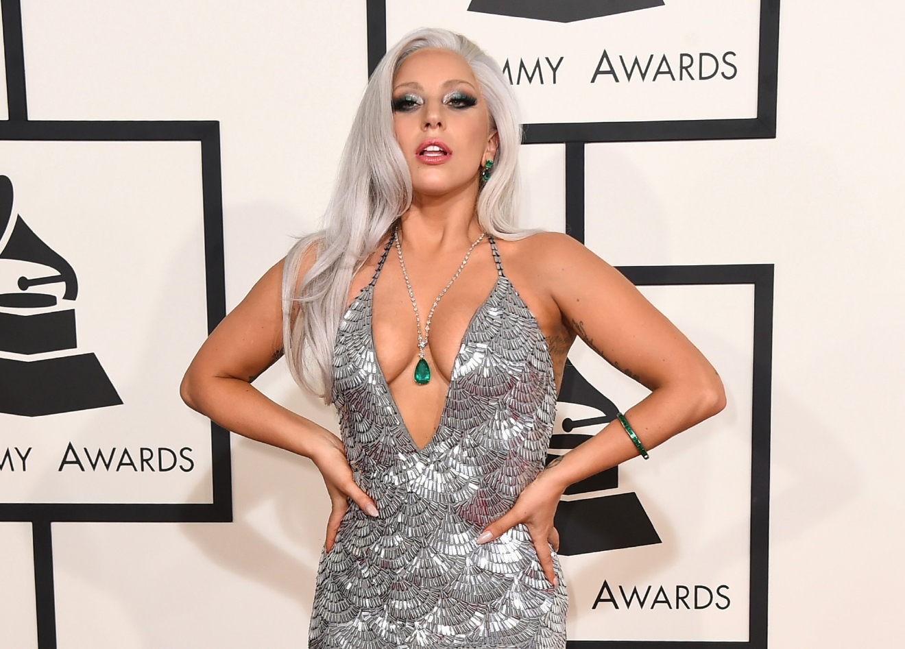 FILE - In this Feb. 8, 2015 file photo, Lady Gaga arrives at the 57th annual Grammy Awards at the Staples Center in Los Angeles. In one generation, gray hair has gone from being an unavoidable marker of middle age to an optional and openly discussed fashion choice. (Photo by Jordan Strauss/Invision/AP, File)