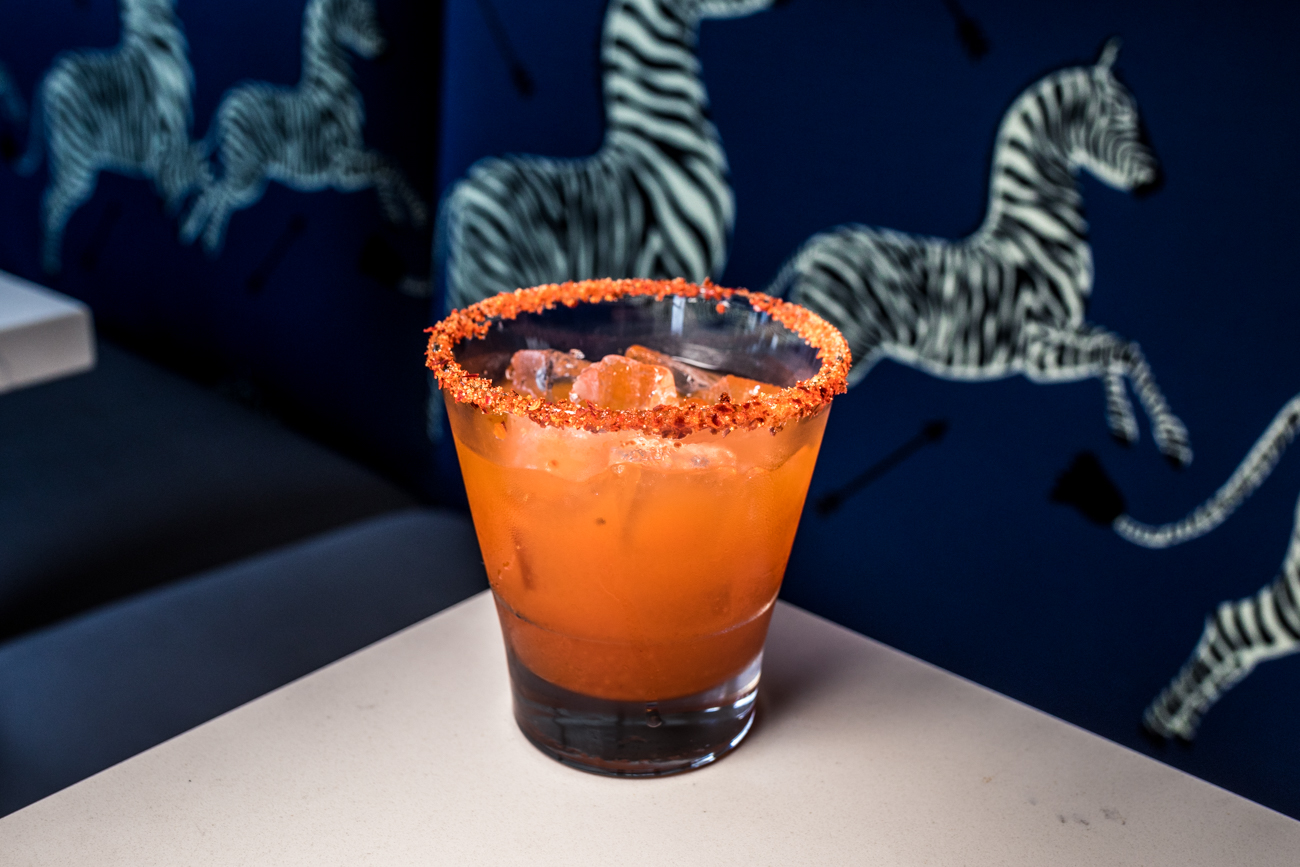 Hot Rod: New Riff Wild Gin, pineapple Szechuan cordial, gochujang simple, and Korean pepper rim / Image: Catherine Viox{ }// Published: 8.2.20