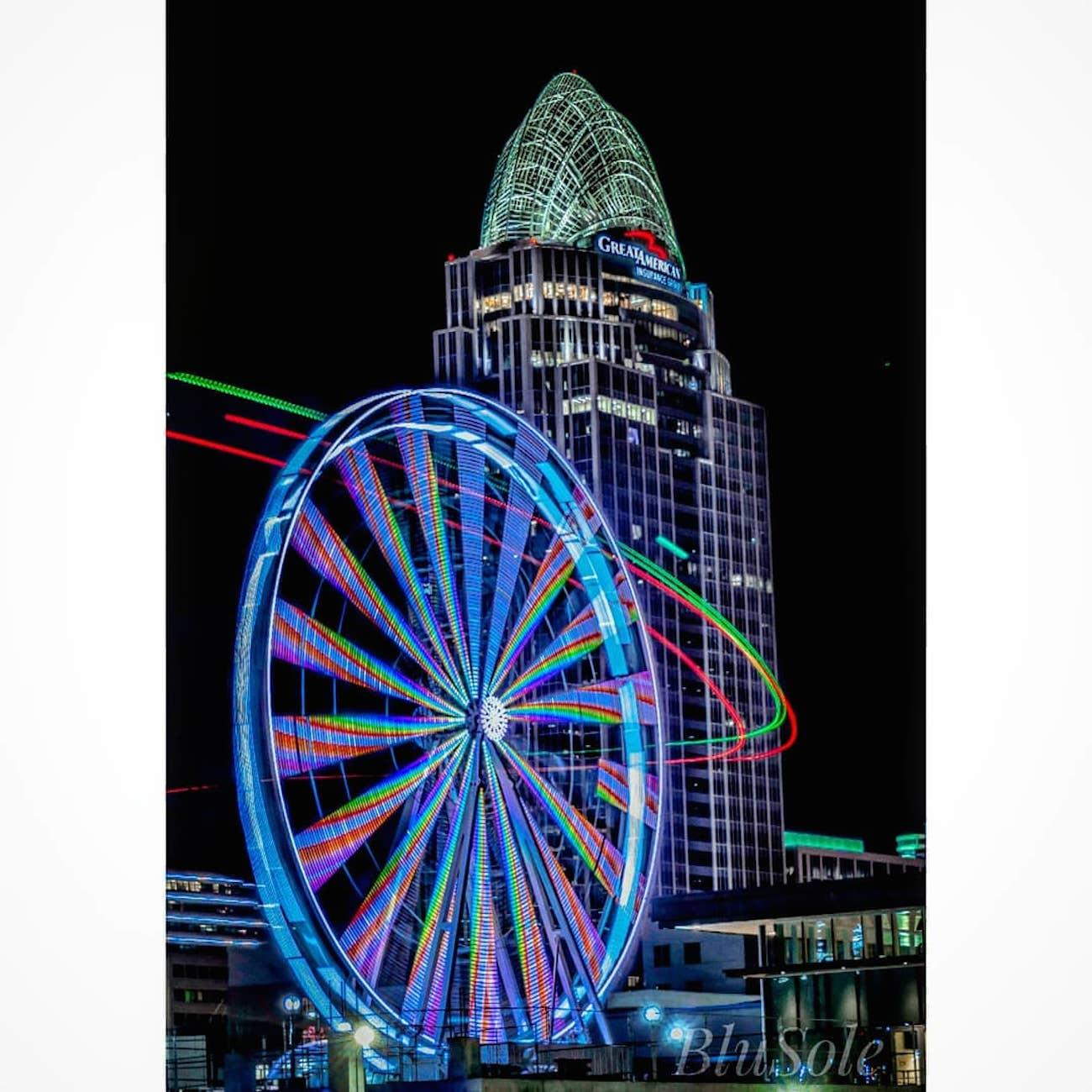 The SkyStar is the largest traveling observation wheel in the country. Guests are carried in gondolas up almost 15 stories high while overlooking the Ohio River. The 36 carriers are climate-controlled and can hold up to six people. The magnificent structure will only call The Banks its home through December 2nd before it's packed up and rolled to a new city. SkyStar runs daily, and tickets are $12.50. ADDRESS: 55 East Freedom Way (45202) / Image courtesy of Instagram user @blusole // Published 9.12.18<br>
