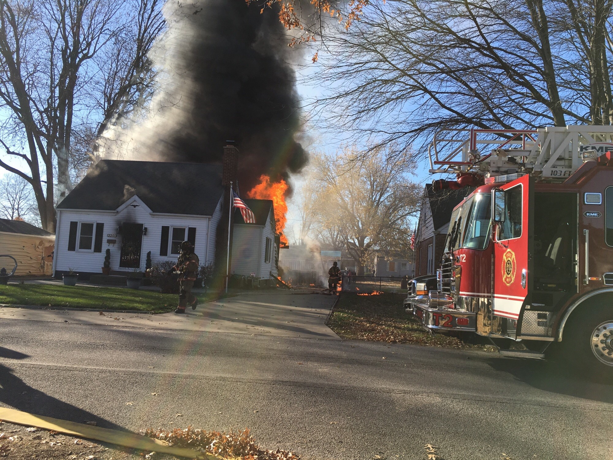 Fire crews are currently on the scene of a house fire off of Butler Street in Springfield. (Photo Courtesy of Cymphanie Sherman)