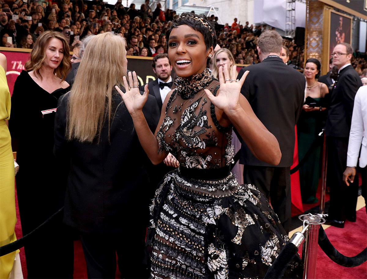 Janelle Monae arrives at the Oscars on Sunday, Feb. 26, 2017, at the Dolby Theatre in Los Angeles. (Photo by Matt Sayles/Invision/AP)