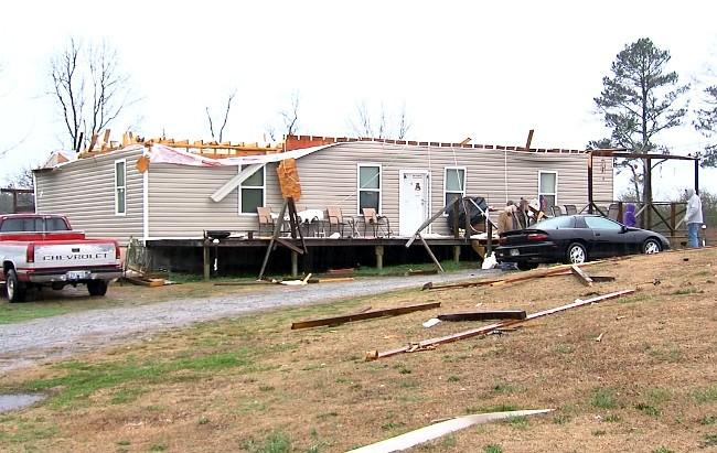 A home in Winston County damaged by strong storms in Alabama on Wednesday.