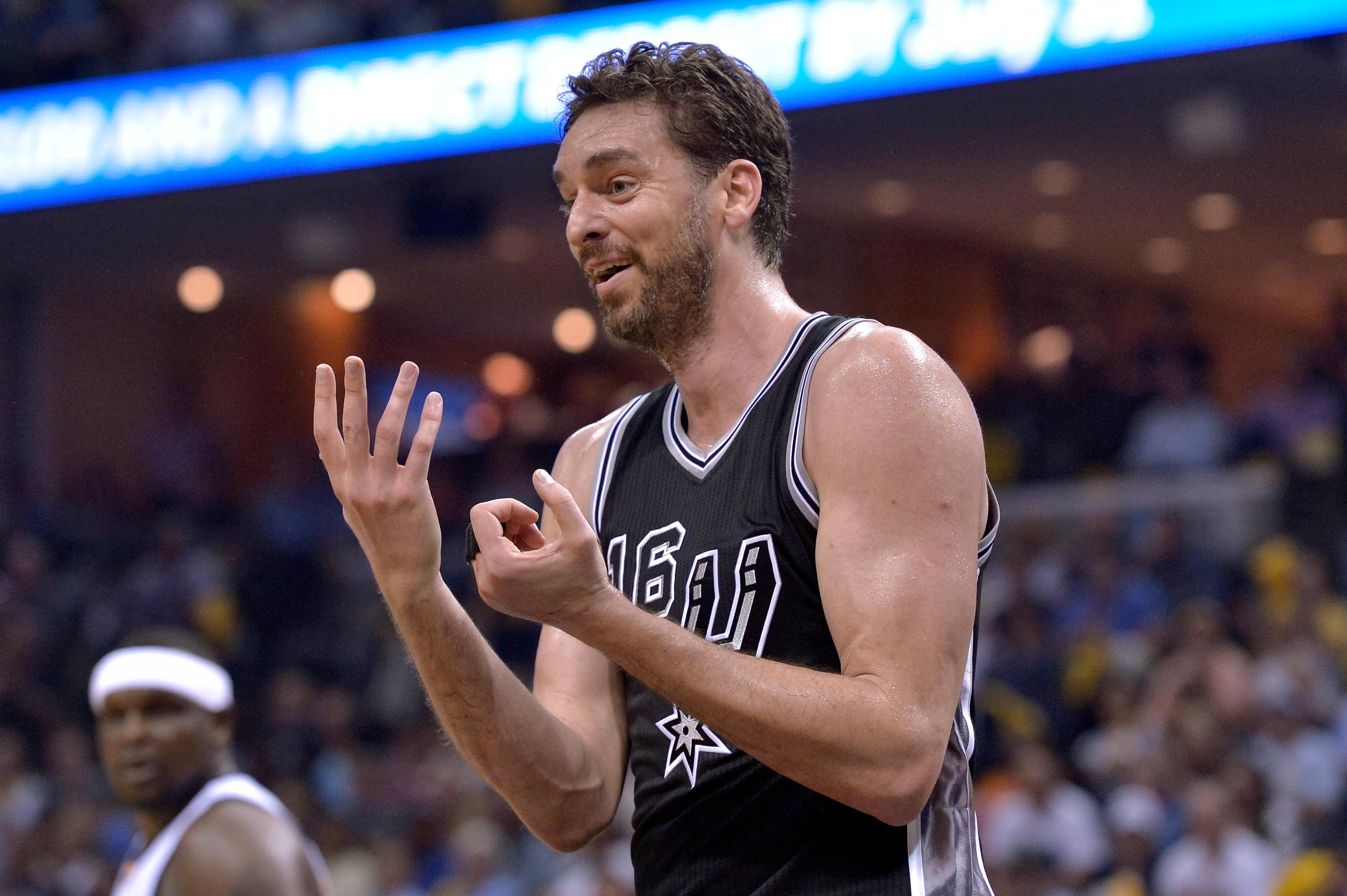 San Antonio Spurs center Pau Gasol reacts to a referee's call during the second half of Game 3 of the team's NBA basketball first-round playoff series against the Memphis Grizzlies, Thursday, April 20, 2017, in Memphis, Tenn. (AP Photo/Brandon Dill)