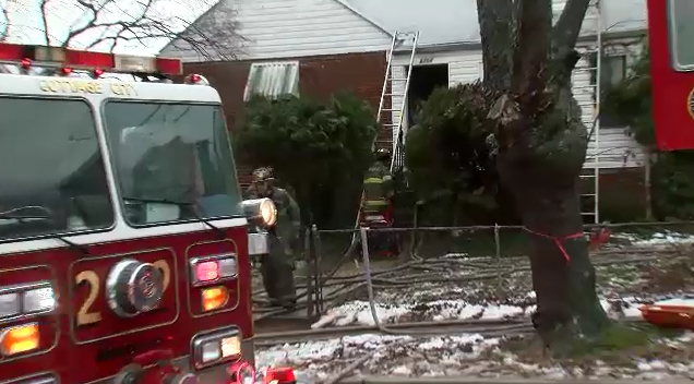 Firefighters are on the scene of a house fire in Hyattsville, Md., Tuesday, Feb. 16, 2016. (ABC7 photo)