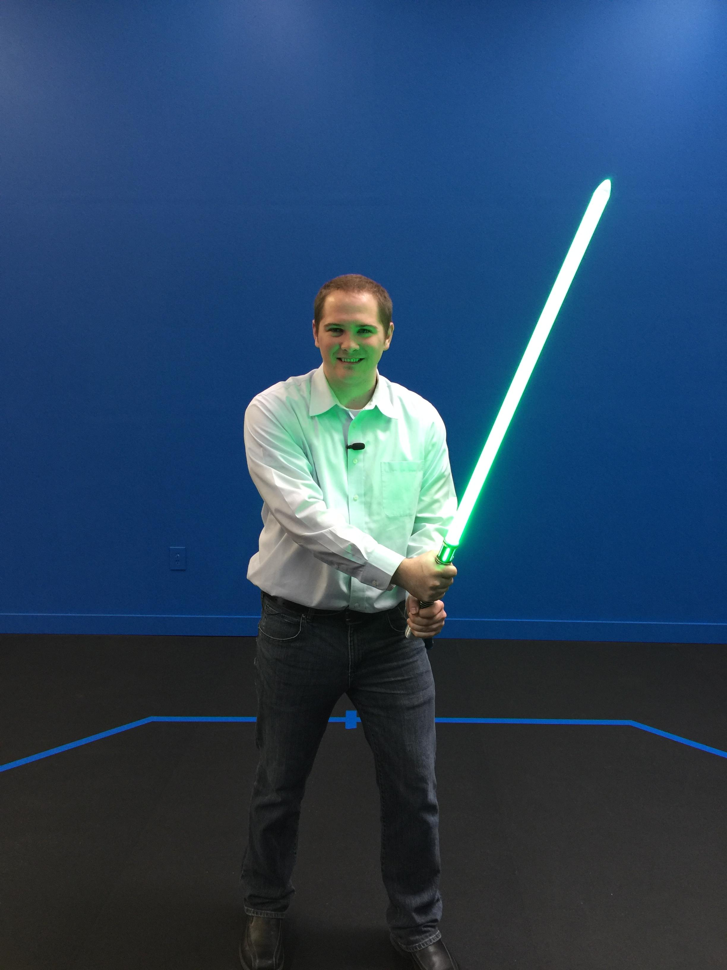 "Meteorologist Travis Knudsen tried out some of the SaberForge creations in anticipation of ""The Force Awakens""."
