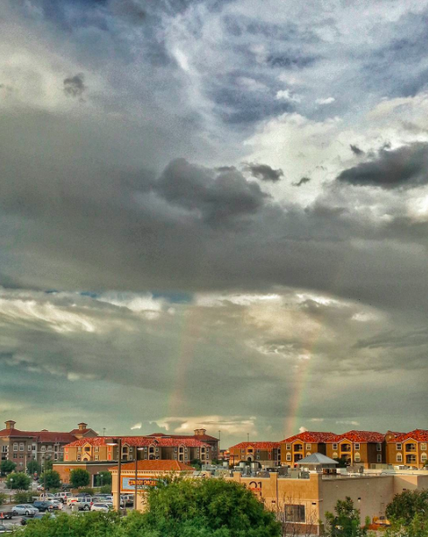 IMAGE: IG user @moosajee / POST: As the sun sets down in the west, it leaves a stunning view (double rainbow) in the east. Thats one of the few things I like about Lubbock.