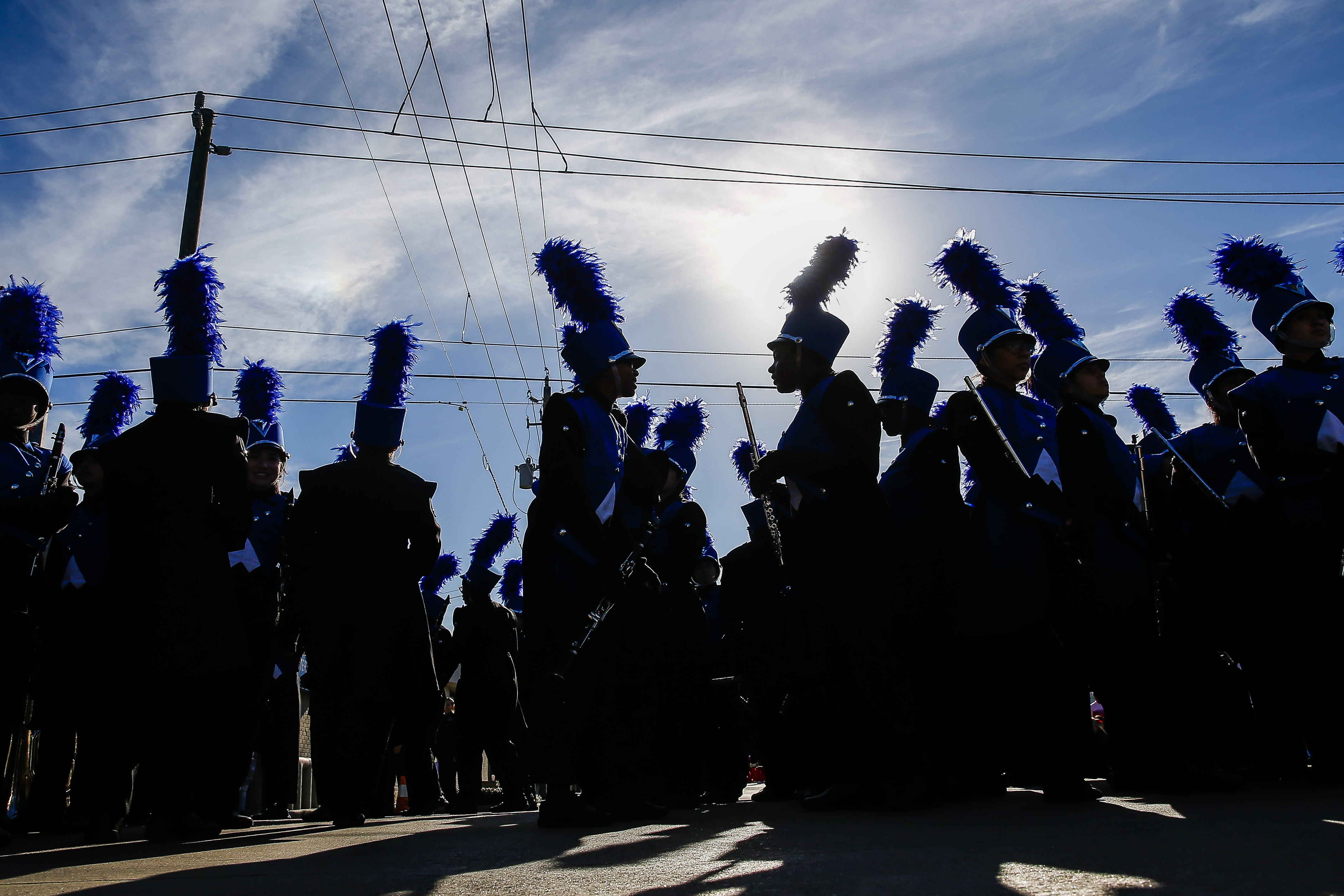 In this Monday, Jan. 15, 2018 photo, C.E. King High School band members wait to perform in the MLK Grande Parade in Houston.{ } (Michael Ciaglo/Houston Chronicle via AP)