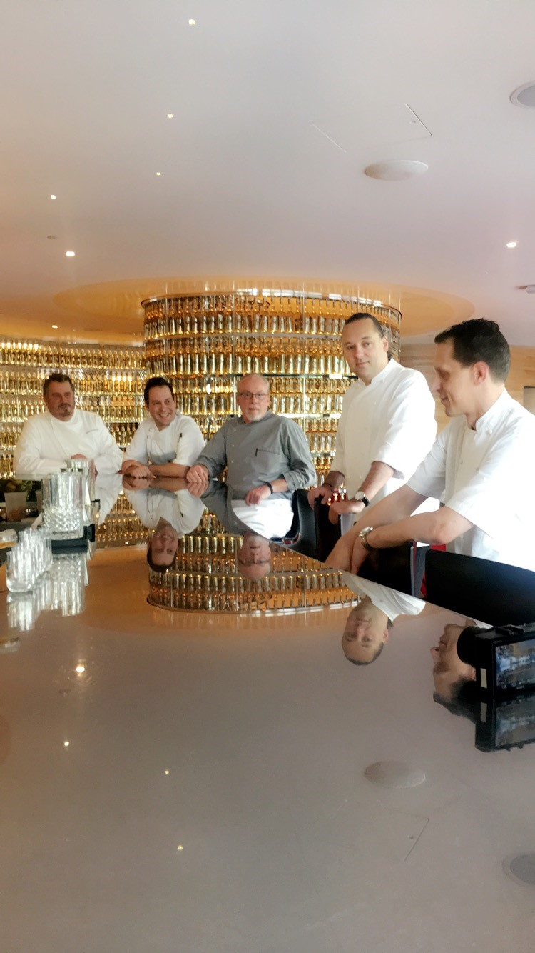 The five chefs compare notes before the dinner in The Next Whisky Bar at The Watergate Hotel. (Image: Courtesy The Watergate Hotel)
