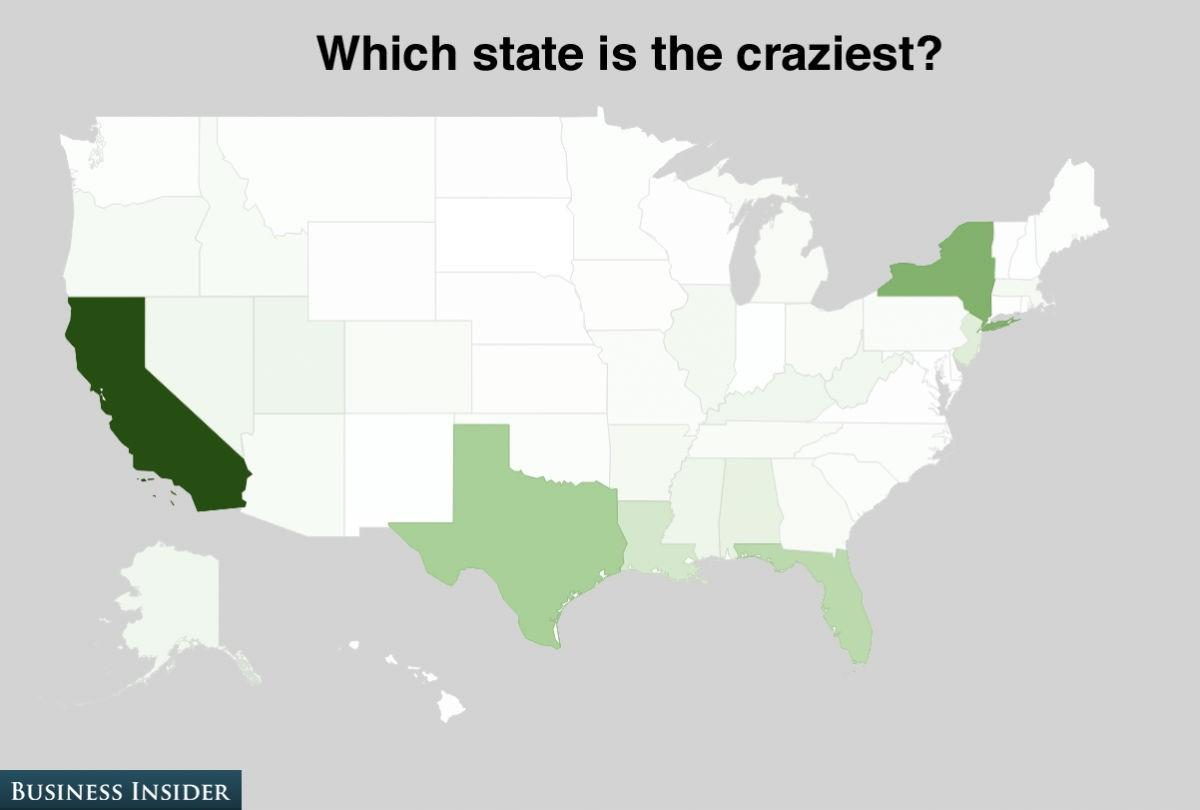 The craziest state goes to California which took in 25% of the vote.