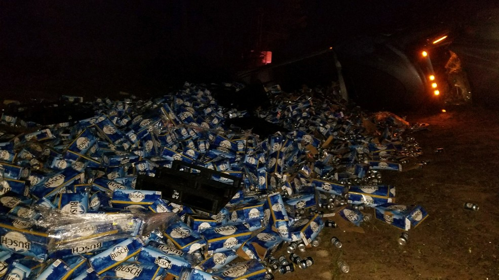 Truck driver spills 60000 pounds of beer on highway