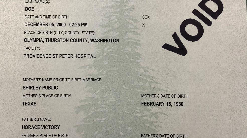 X Now Rd Option For Gender On Washington Birth Certificate  Komo