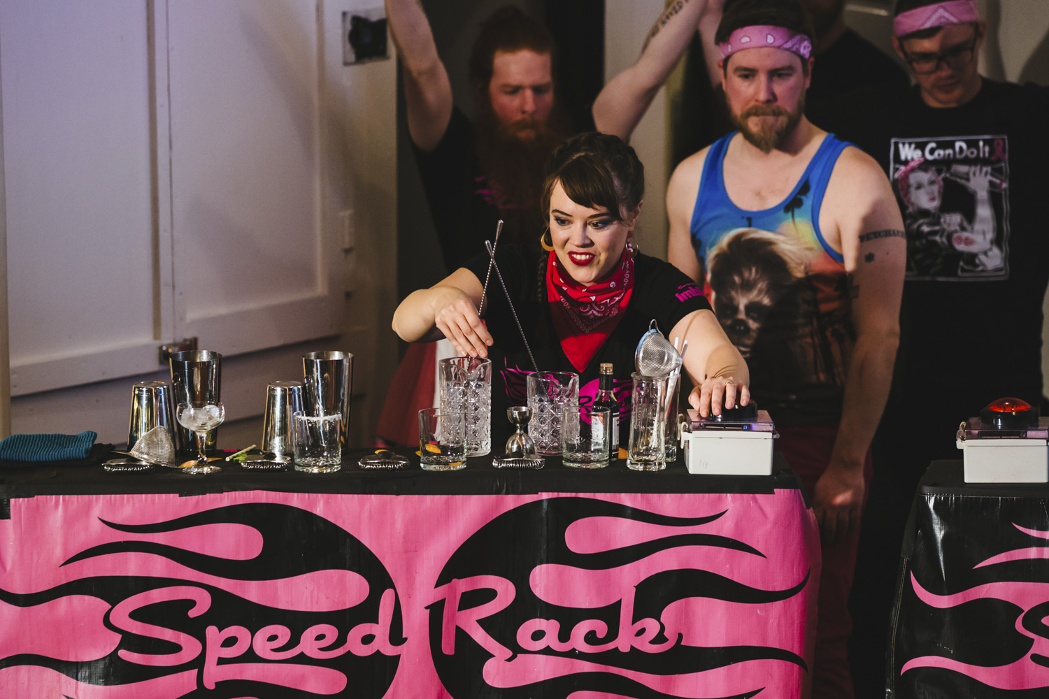 Portland bartender Lydia McLuen walked away from Speed Rack NW this past weekend as the champion! McLuen bartends at Bar Casa Vale, and won the competition with a time of two minutes and thirty-seven seconds. The all-female speed-bartending competition happens annually, and raises money for breast cancer. The bartender with who is able to make their drinks in the least time wins the title! (Image: Sunita Martini / Seattle Refined)