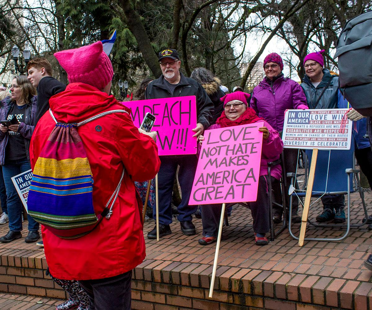 Thousands of people gathered at Terry Schrunk Plaza and marched through downtown Portland to Tom McCall Waterfront Park for the National March for Impeachment on Saturday, January 20, 2018. The march marked the one year anniversary of President Donald Trump's Inauguration and the 2017 Women's March. Photo by Amanda Butt