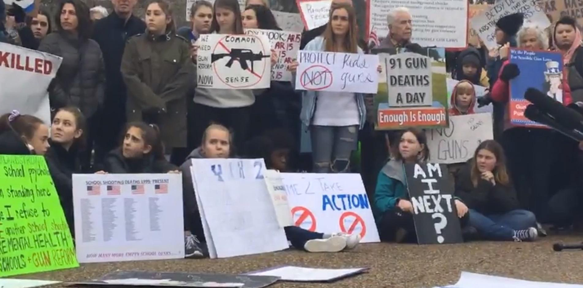 Teenagers in Washington, D.C. hold a lie-in protest at the White House on Monday, February 19, 2018. Activists were demanding action to prevent school shootings. (Image: WJLA)<p></p>
