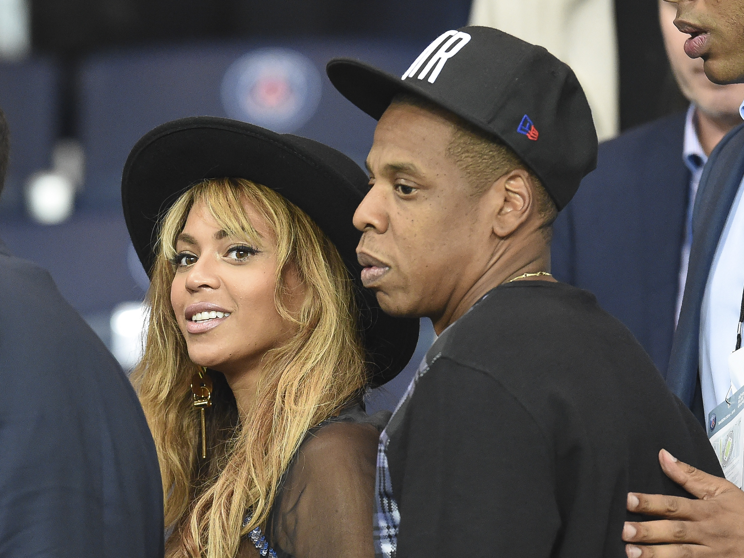 Celebrities in attendance for the Paris Saint-Germain F.C. vs Barcelona F.C. football match in Paris  Featuring: Beyonce, Jay-Z Where: Paris, Parc des Princes, France When: 30 Sep 2014 Credit: WENN.com  **Not available for publication in France, Netherlands, Belgium, Spain, Italy**
