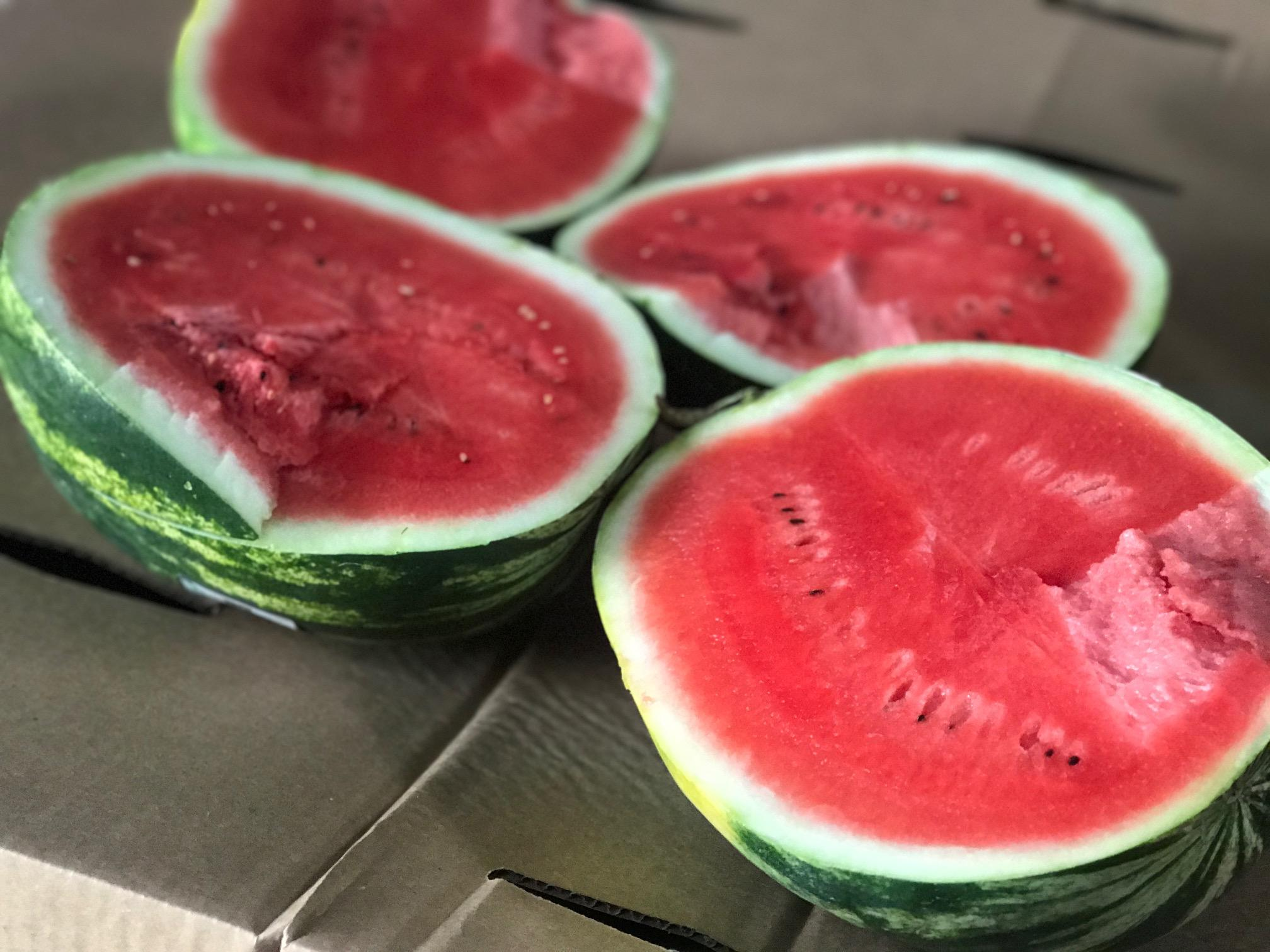 Niles couple donate watermelons to food pantries with hidden message.