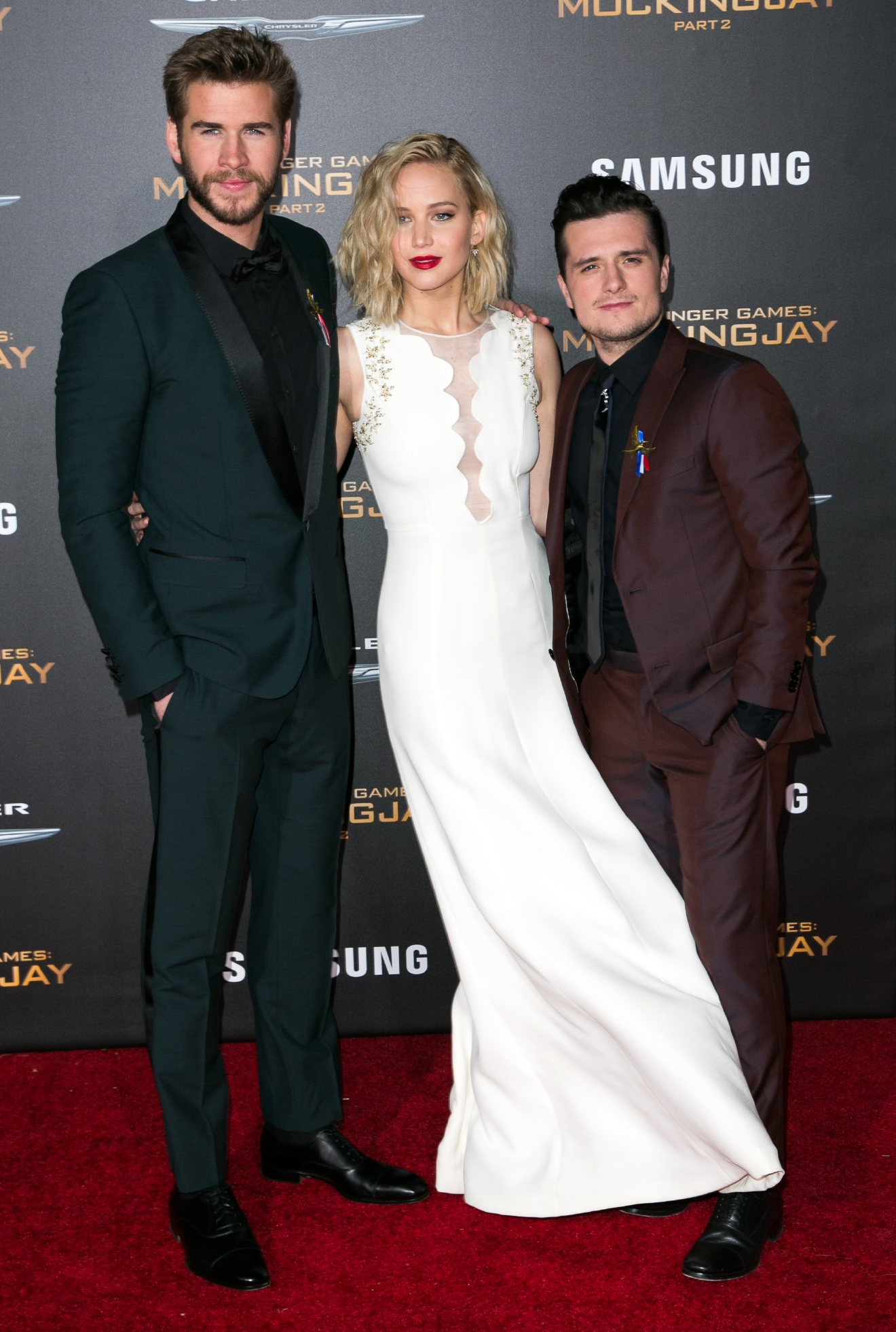 "Celebrities attend Premiere Of Lionsgate's ""The Hunger Games: Mockingjay - Part 2"" at Microsoft Theater.  Featuring: Liam Hemsworth, Jennifer Lawrence, Josh Hutcherson Where: Los Angeles, California, United States When: 17 Nov 2015 Credit: Brian To/WENN.com"