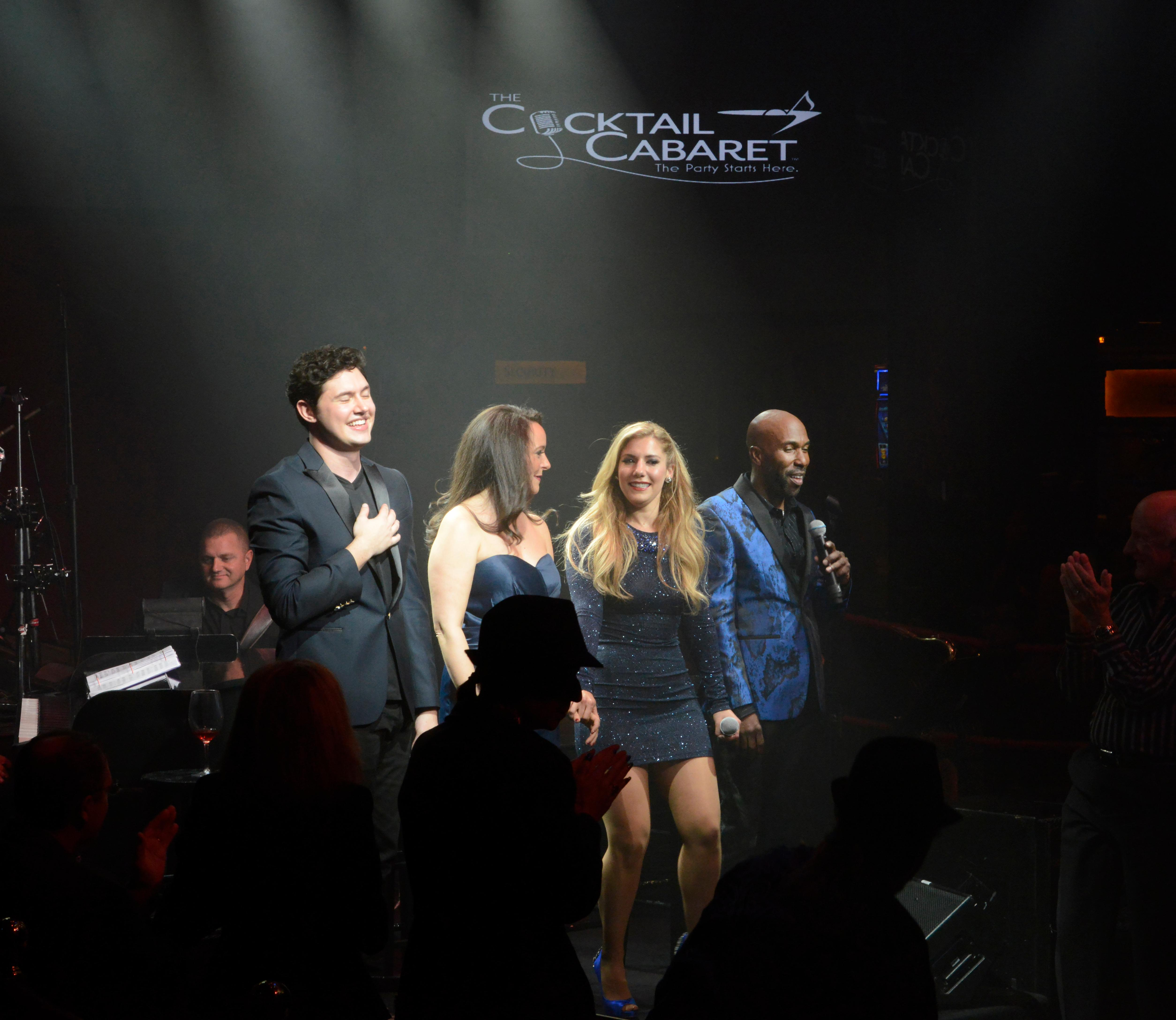 "Opening night of the musical review ""The Cocktail Cabaret"" at Cleopatra's Barge in Caesars Palace Hotel & Casino. The cast (l-r) Daniel Emmet, Niki Scalera, Maren Wade and  Eric Jordan Young. Thursday, November 30, 2017. CREDIT: Glenn Pinkerton/Las Vegas News Bureau"