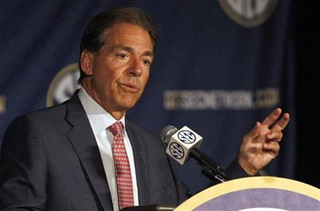 Alabama coach Nick Saban speaks to the media at the Southeastern Conference NCAA college football media days Thursday, July 17, 2014, in Hoover, Ala.