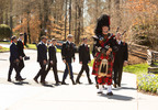 March 2, 2018: As part of Scottish tradition, Pipe Major William Boetticher provides a bagpipe escort for the Graham family at the end of the funeral service. The 2007 funeral for Graham's wife, Ruth, also included a bagpipe recessional. (Photo credit: Billy Graham Evangelistic Association)