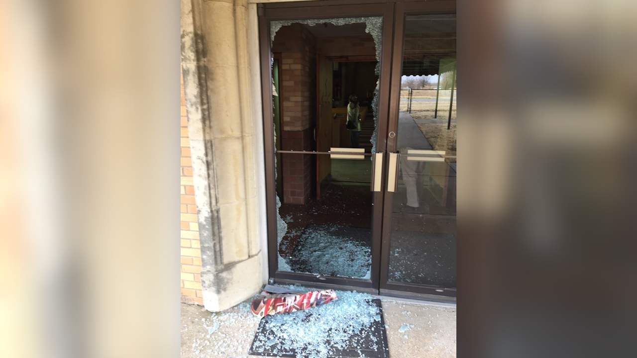 <p>The priest at St. Augustine Catholic Church says someone used the statue of the Virgin Mary to shatter the glass on the front door. (KTUL)</p>