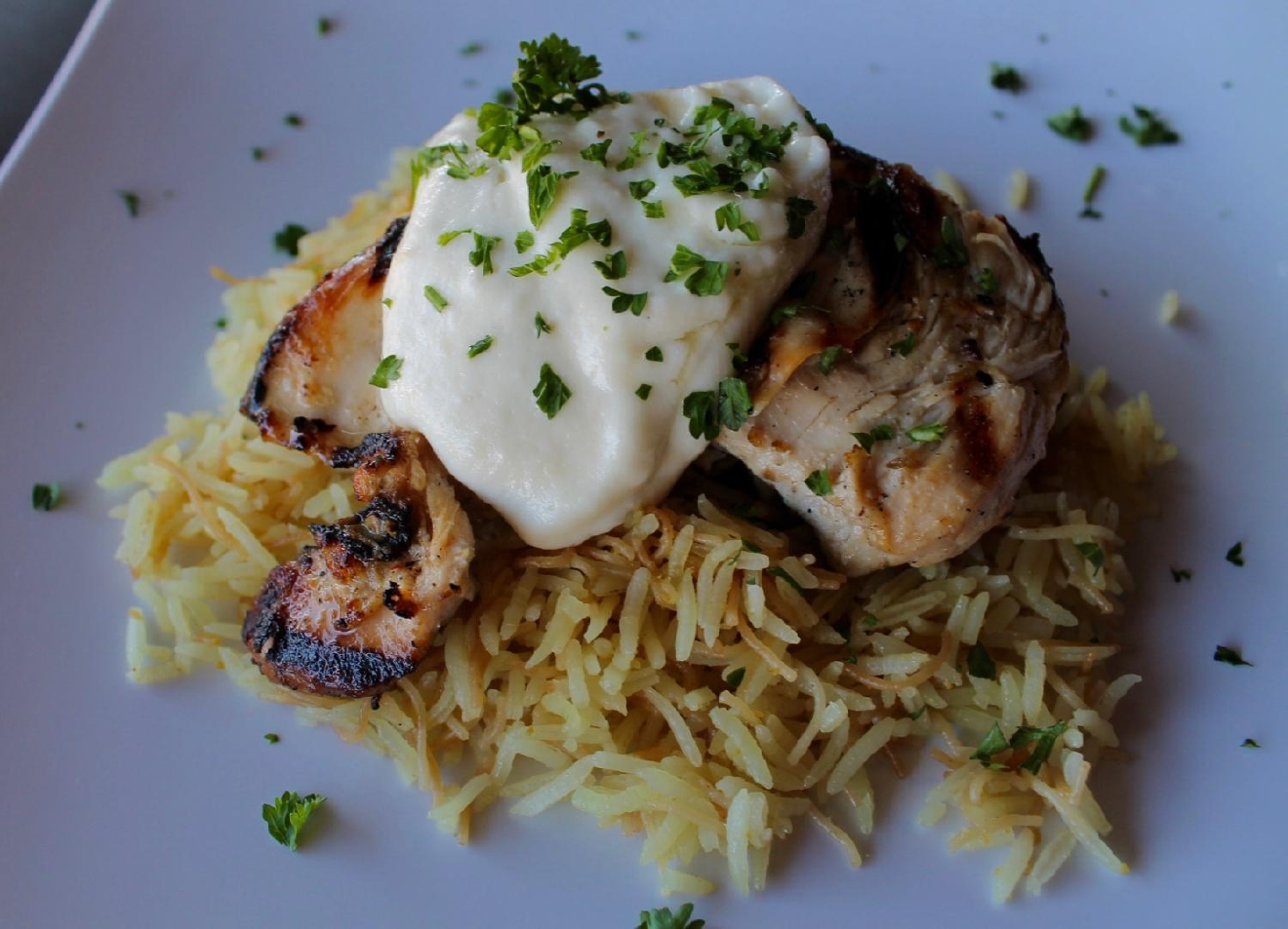 Khoury Chicken: marinated chicken breast, with vermicelli rice, and potato aioli / IMAGE: Rose Brewington // PUBLISHED: 10.17.16