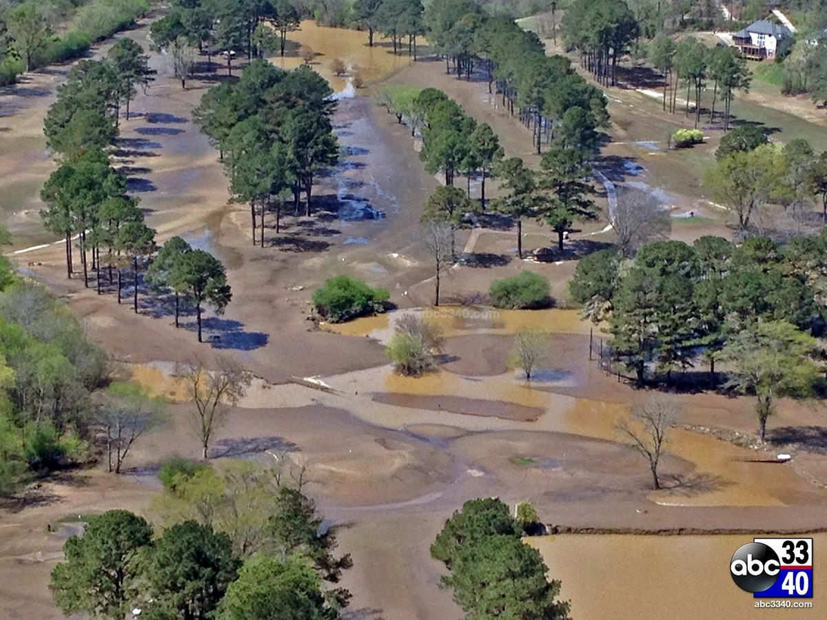 Aerial photo of the flooded golf course at Altadena Valley Country Club in Birmingham, Ala., Tuesday, April 8, 2014.