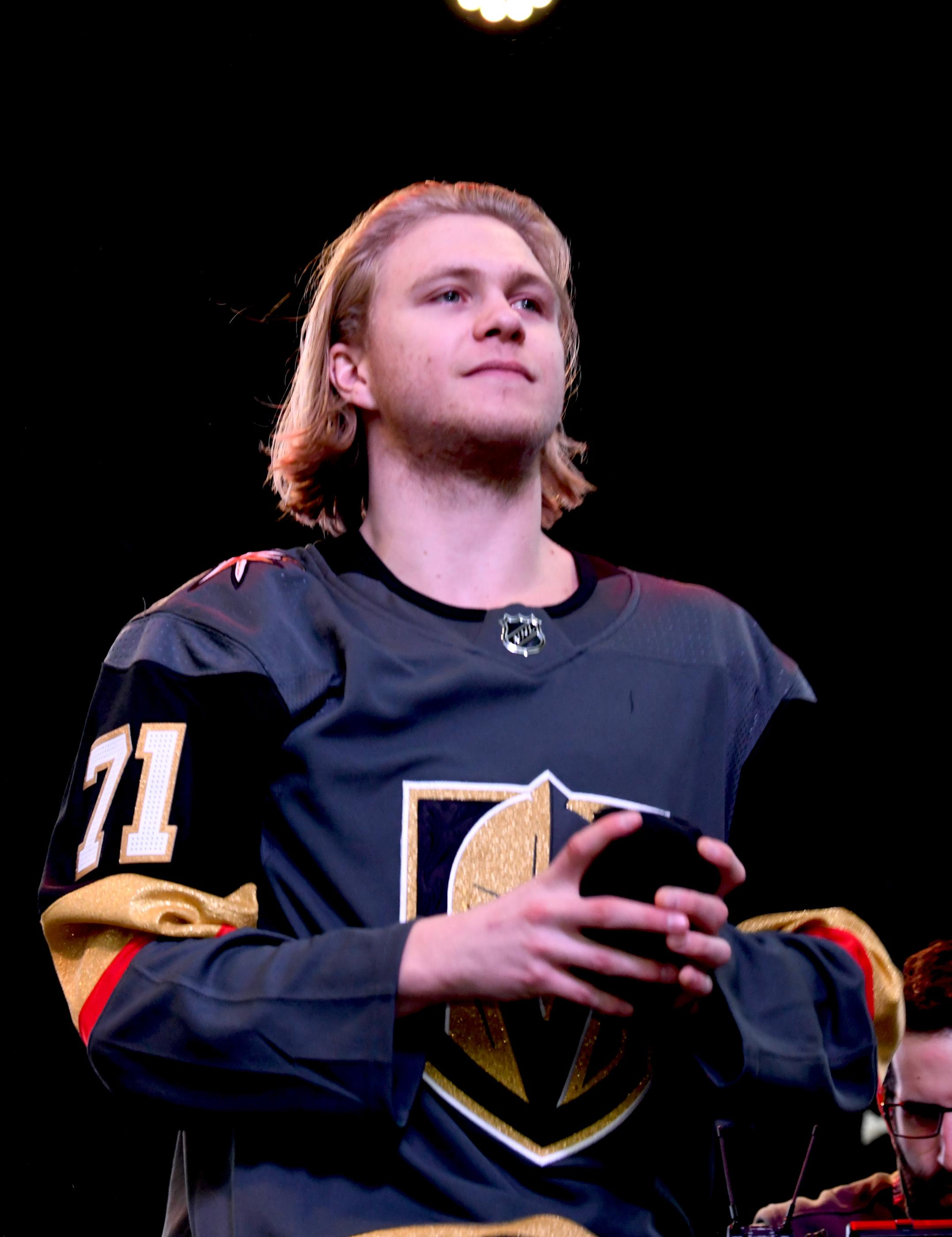 The Golden Knights host a Fan Fest with the D Las Vegas and Fremont Street Experience. Las Vegas Golden Knights player William Karlsson prepares to throw a t-shirt to fans as the team takes the stage at Fremont Street Experience. Sunday, January 14, 2017. CREDIT: Glenn Pinkerton/Las Vegas News Bureau