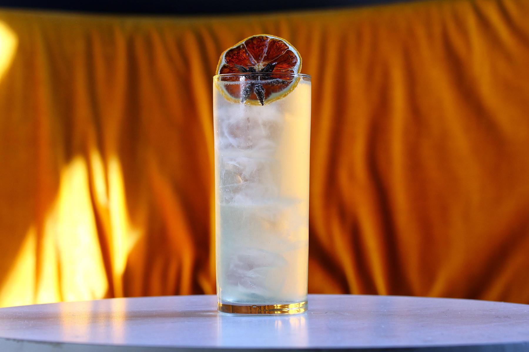 "Soft Notes: An aperitif-style cocktail, mixes Cocchi Americano, Persian lime and carbonated water. ""While in soft notes I tune to oaten reed Gay hopes, and amorous sorrows of the mead."" (Image: Jai Williams)"