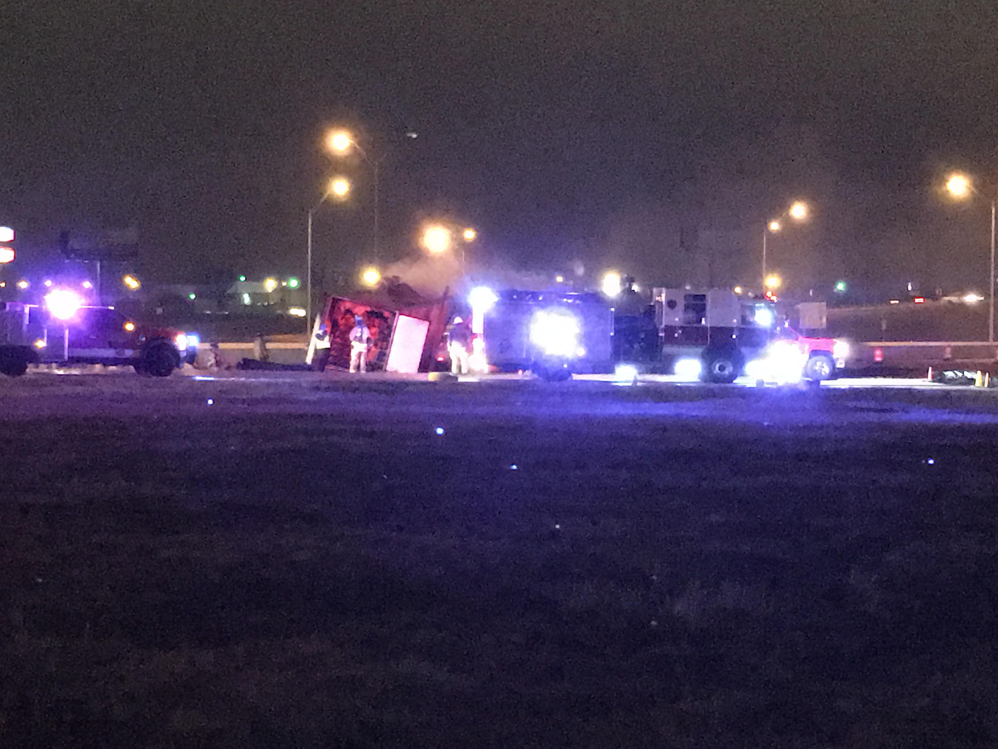 Firefighters respond to a semi-truck on fire on I-35. (David Young/KOKH)<p></p>