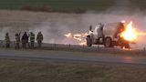 One transported after crash, propane truck fire along I-40