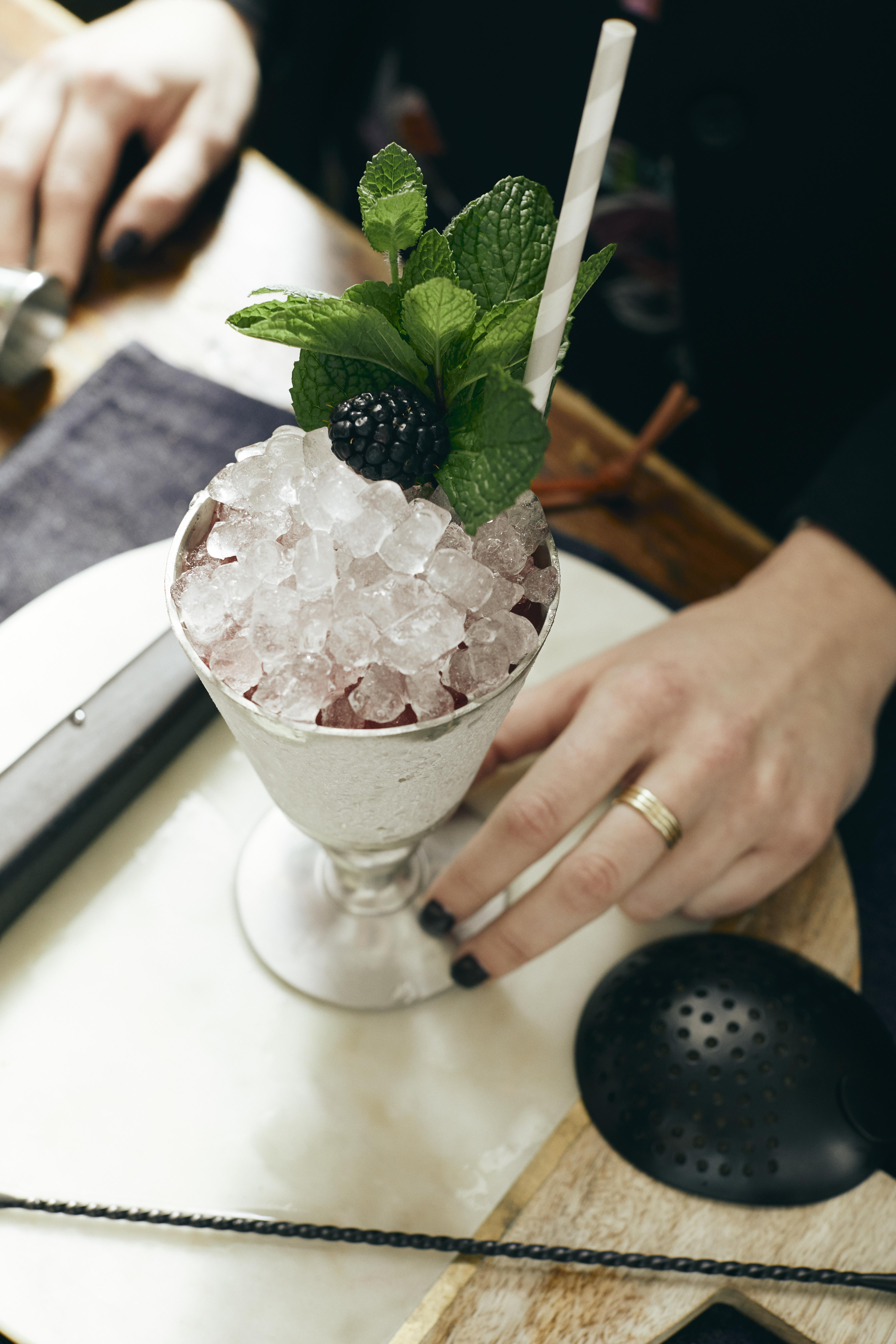 """The Sparkleberry Julep came from our love of using seasonal ingredients from Chef Edward Lee's kitchen and my obsession with Champagne,"" Darlin Kulla says. (Image: Courtesy Succotash)"