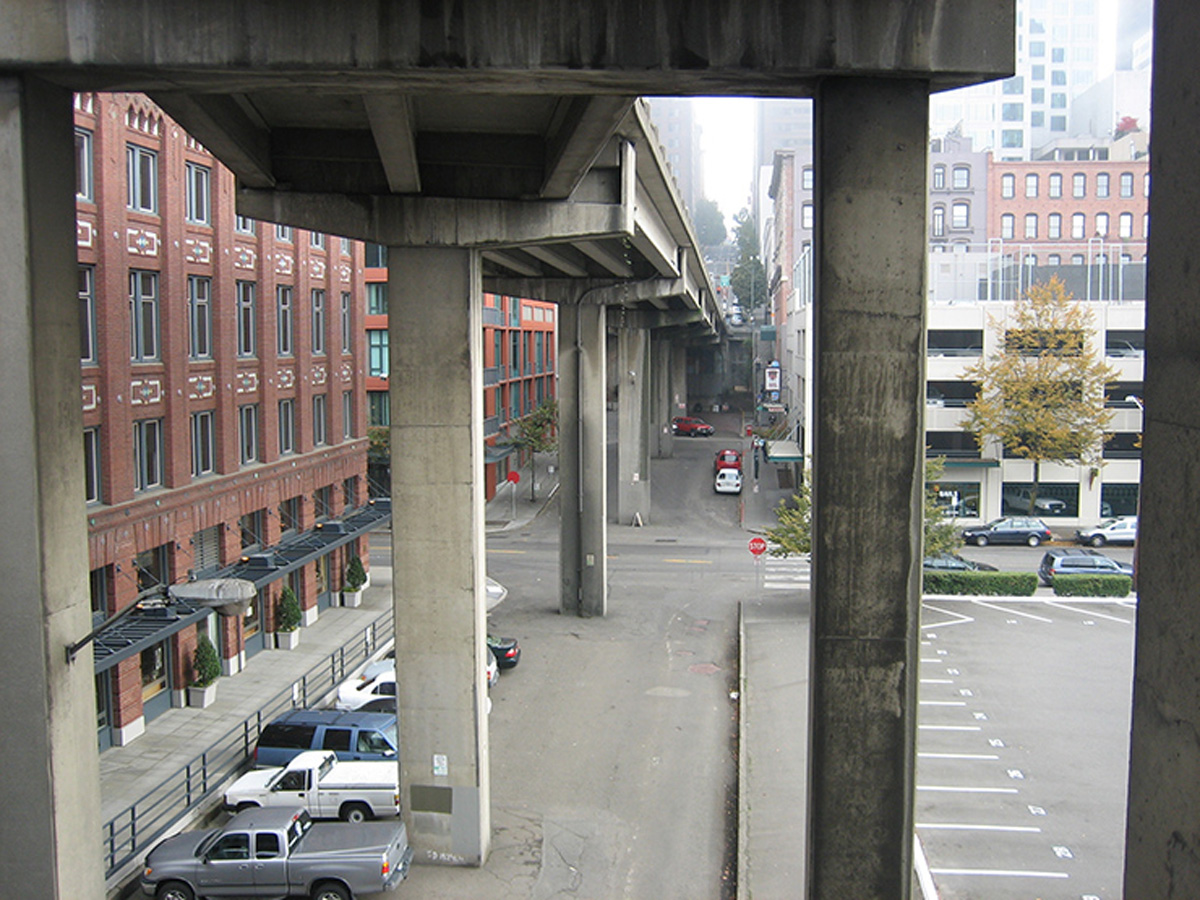 The Seneca and Columbia Street ramps will be demolished when the viaduct is torn down. WSDOT photo
