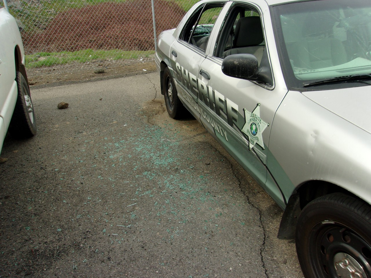 Benton County sheriffs patrol car damaged, sprayed with graffiti