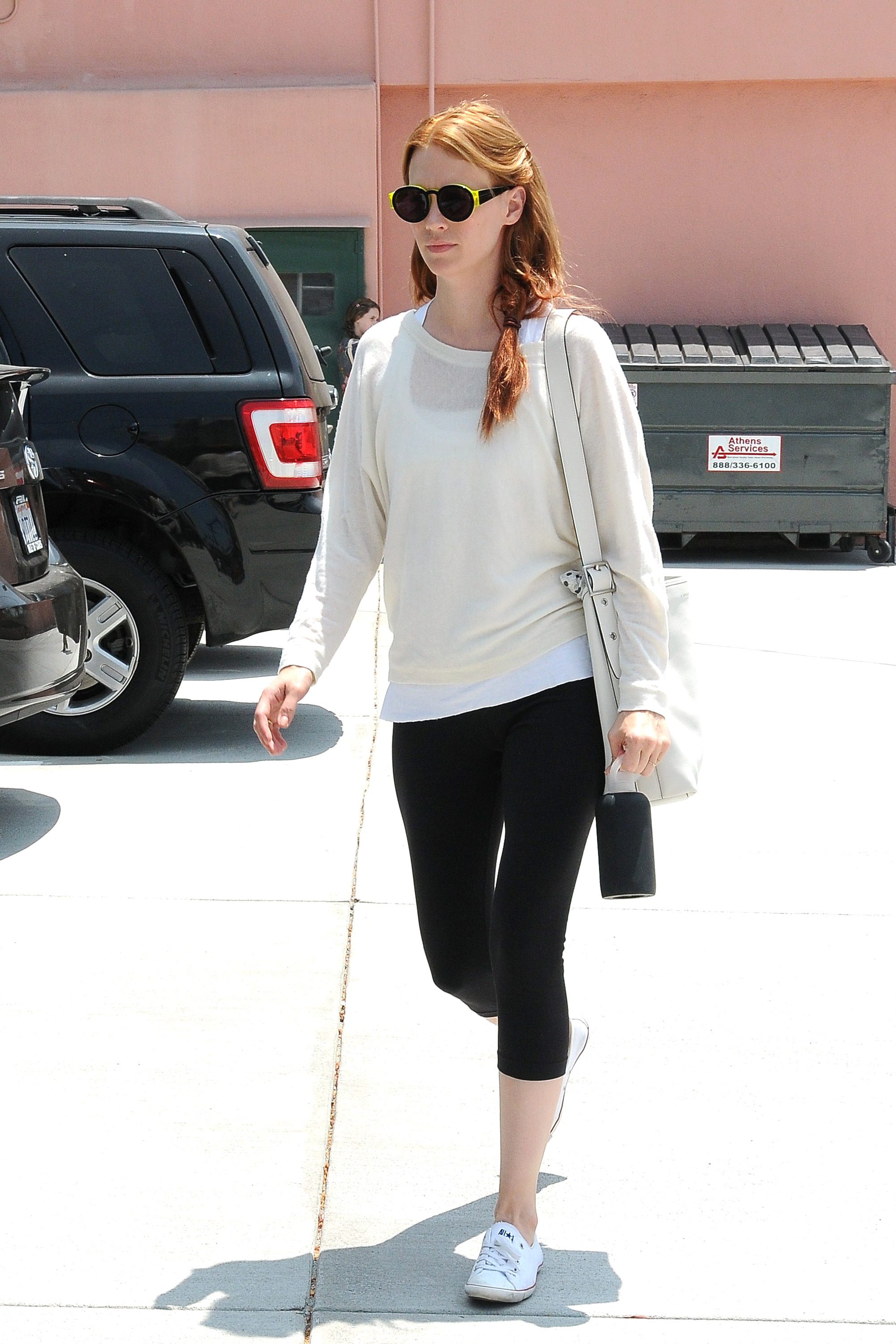 January Jones, sporting a new red hair color,  is seen leaving pilates class in Los Feliz Los Angeles, California - 20.06.12  Where: United States When: 20 Jun 2012 Credit: WENN