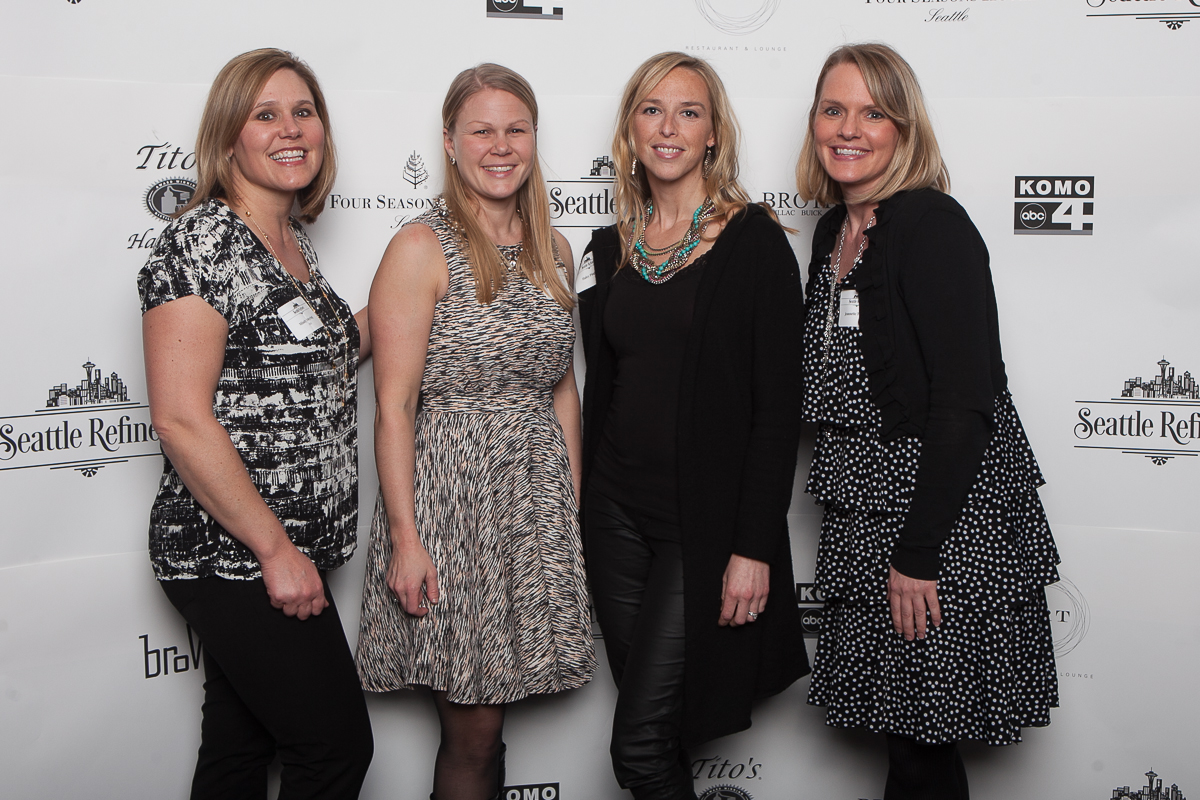 Mindy Meyring, Katherine Diers, Haley Pingree and Jeanette Tarcha celebrate the launch of Seattle Refined at the Four Seasons. (Image: Joshua Lewis / Seattle Refined)