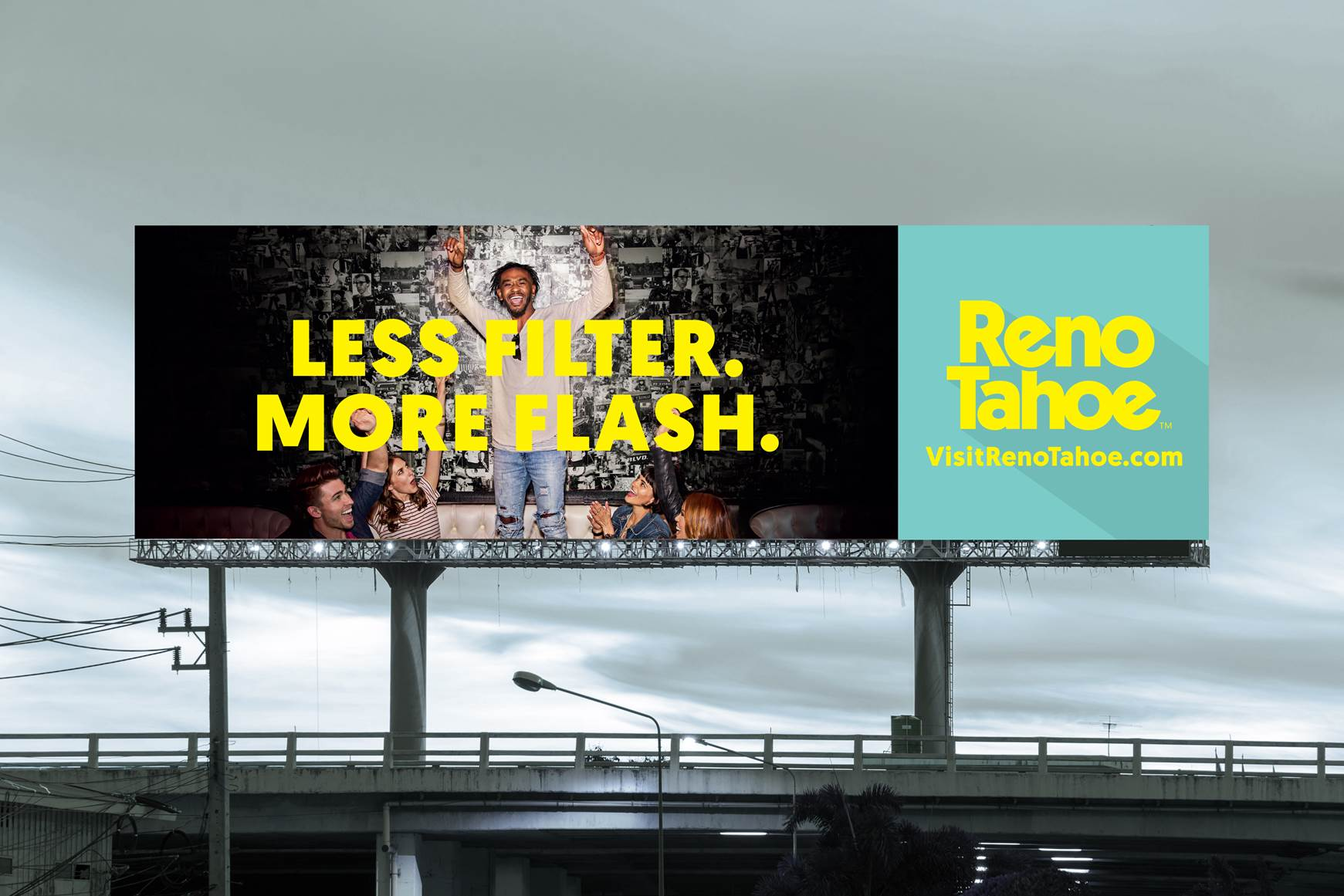 """LESS FILTER, MORE FLASH"" is one of the billboards that will be seen throughout the Bay Area, Los Angeles and Seattle area."